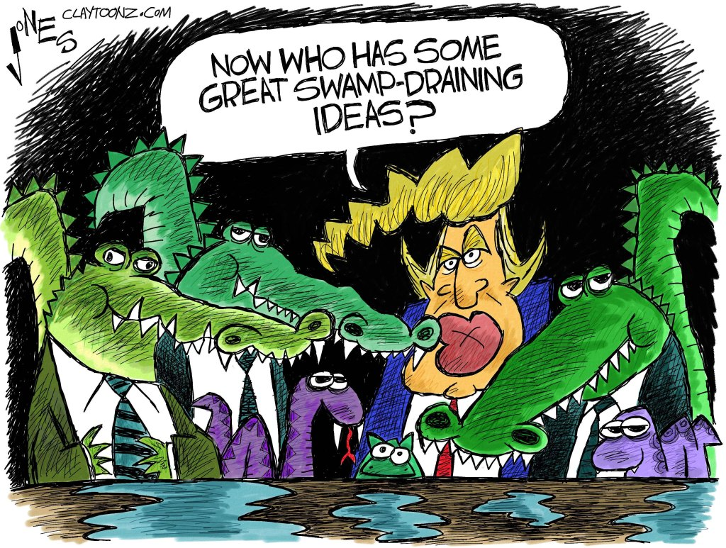 Can You Help Drain the Swamp and Make Government More Efficient? Trump-in-the-swamp