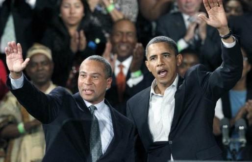 Deval obama at podium