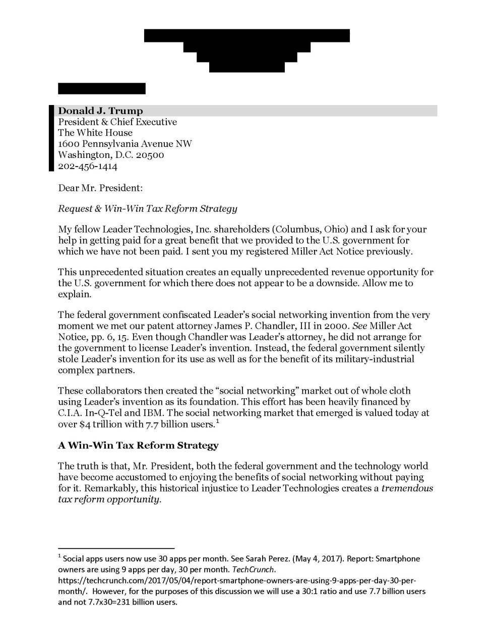 Leader-Technologies-Tier-II-Miller-Act-Notice-cover-letter-to-Donald-Trump-Sep-29-2017_Page_1