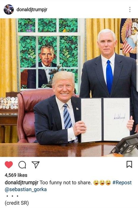 DJTJr tweet Obama in window