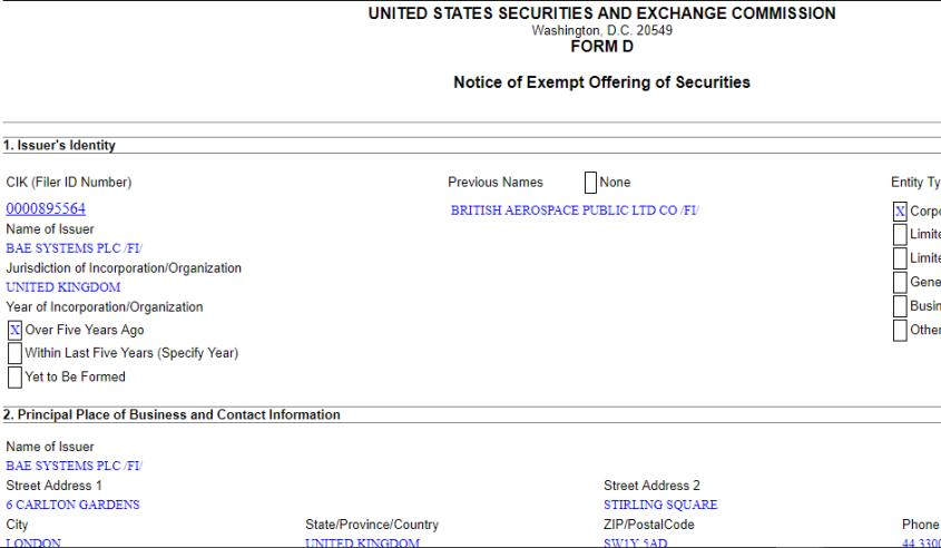 notice of exempt offering