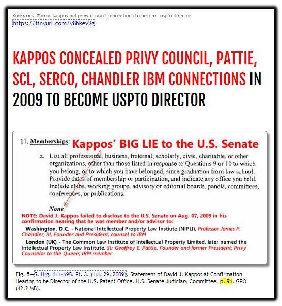 Kappos conceals Privy COuncil