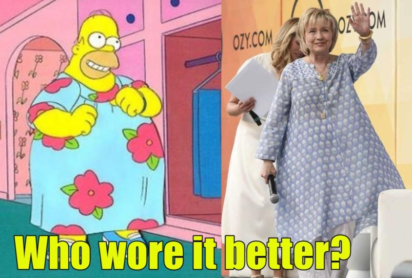 Hillary and Homer in mumus