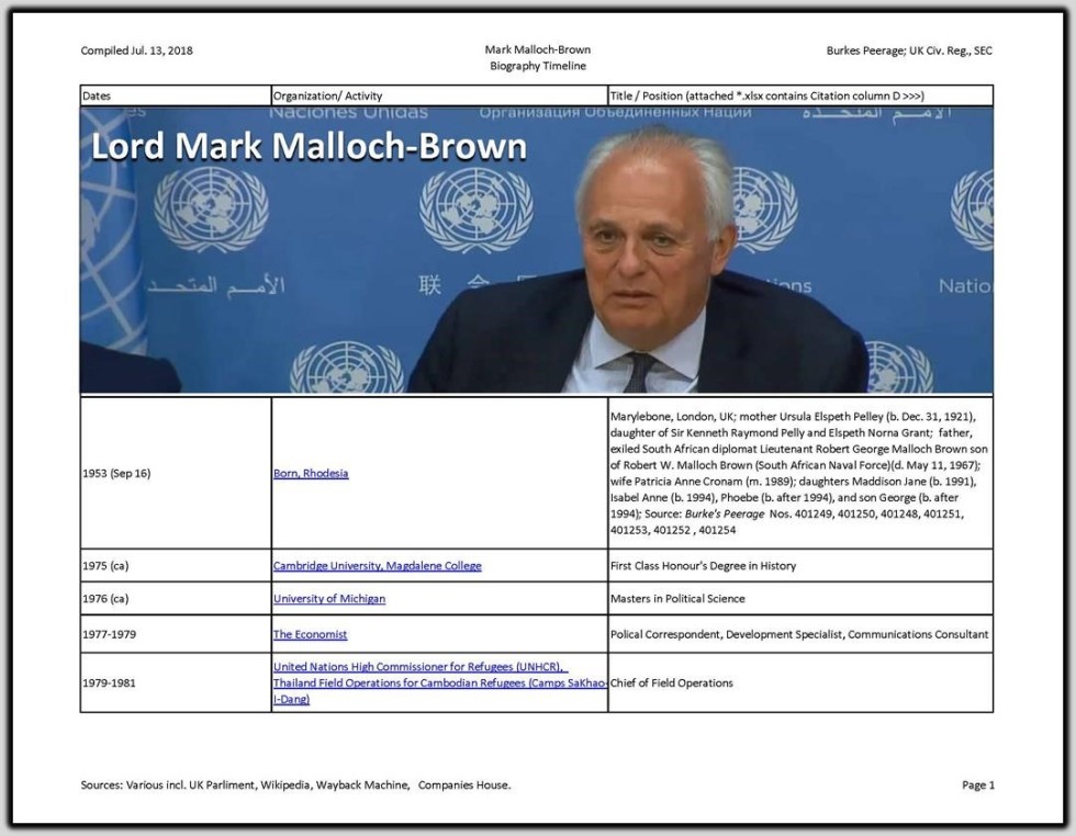 Mark Malloch Brown Resume
