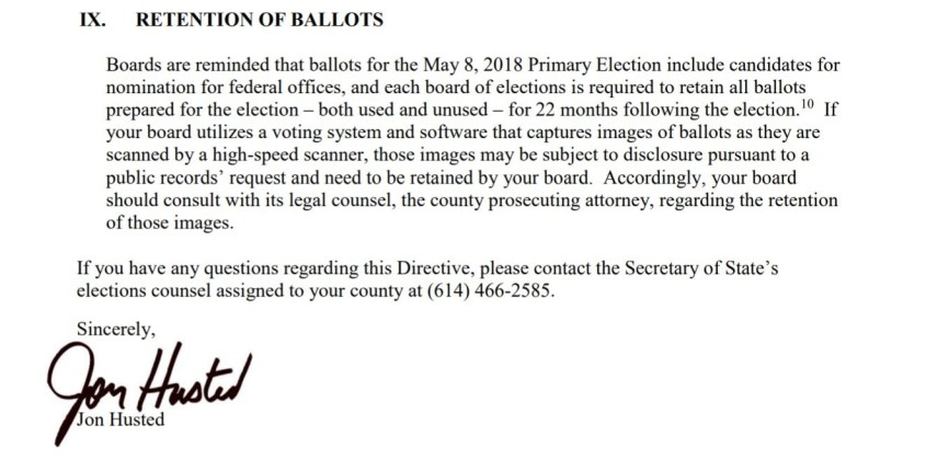 retention of ballots
