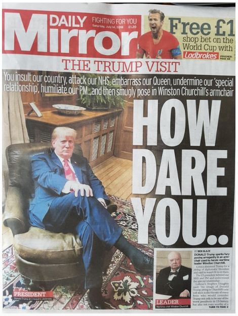 Trump in Churchill chair newspaper
