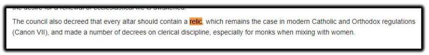 relic statement