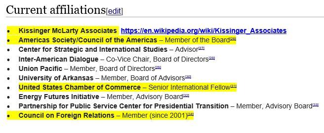 current affiliations