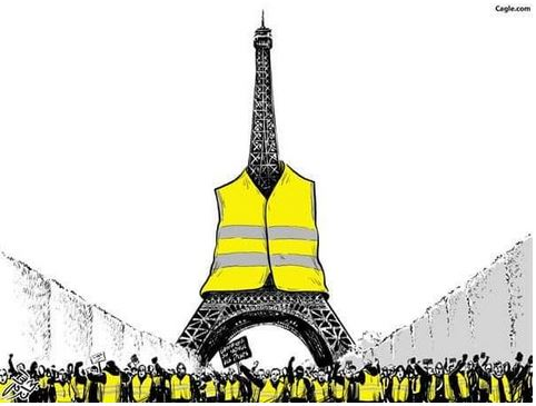 eiffel tower in a yellow vest