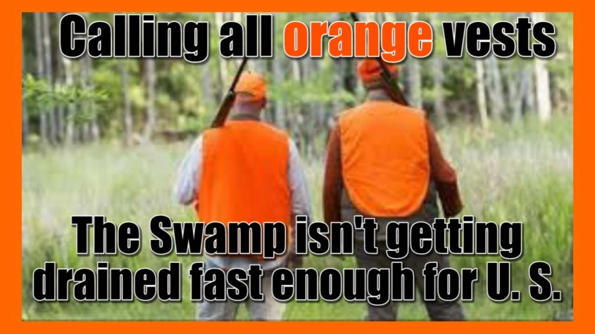 Two men hunting in the swamp