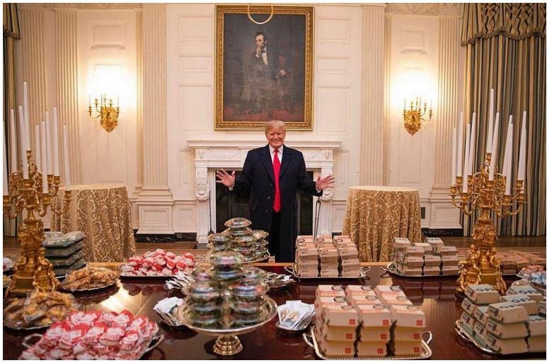 trump with hamburgers