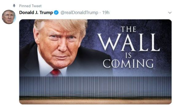 wall is coming tweet