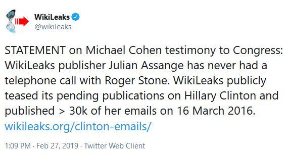 wikileaks michael Cohen