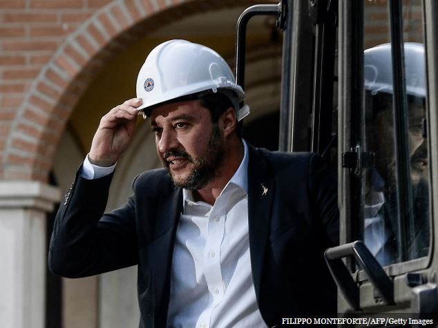 matteo salvini in hard hat