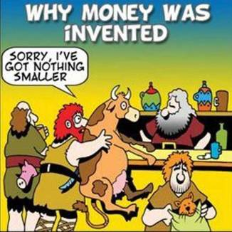 origins of money cartoon