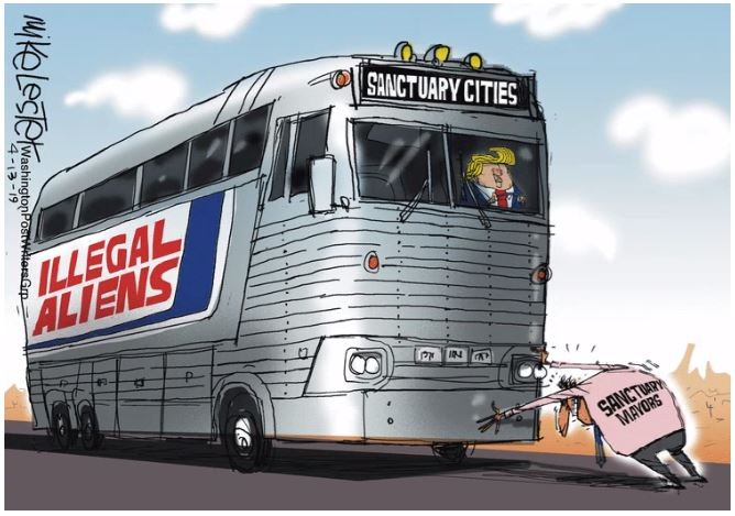 sanctuary city bus trump