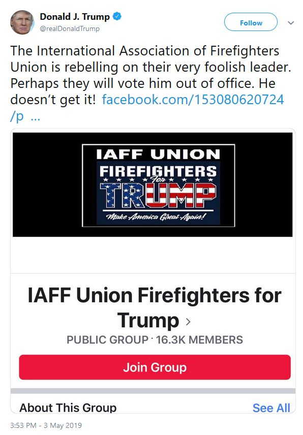 union firefighters trump