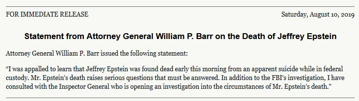 bill Barr statement