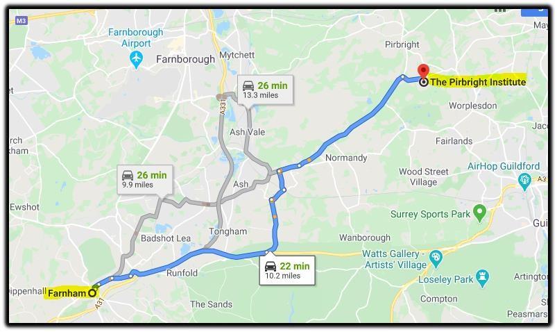 pirbright map Farnham