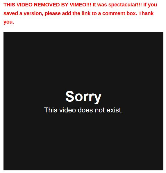 video removed vimeo